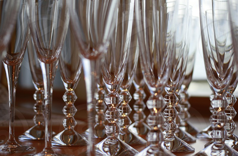 Glasses ready for the toast Keyword: glasses wine wedding toast crystal photo