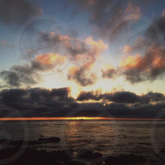 sunset on ocean view photo