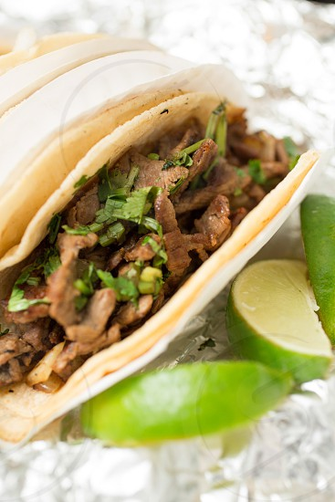 Steak Tacos with Lime Slices photo