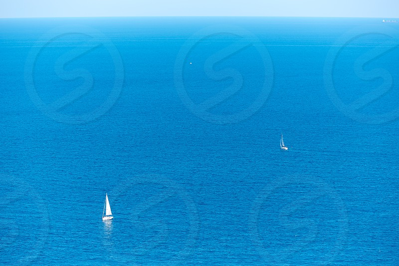 Xabia Javea Mediterranean sea in Alicante aerial view with sailboats photo