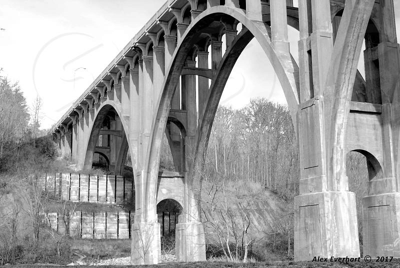 Bridge state park river concrete black and white black & white bridges photo