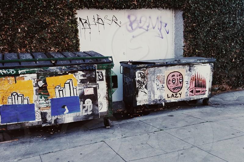 Street art trash bins photo