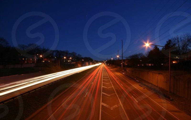 Fast Lane highway  interstate  trailing lights.  photo