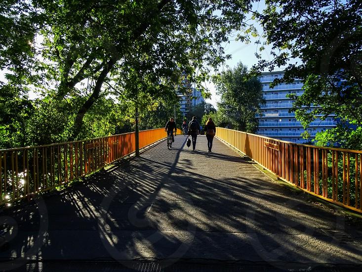 Crossing the Bridge Berlin Germany photo