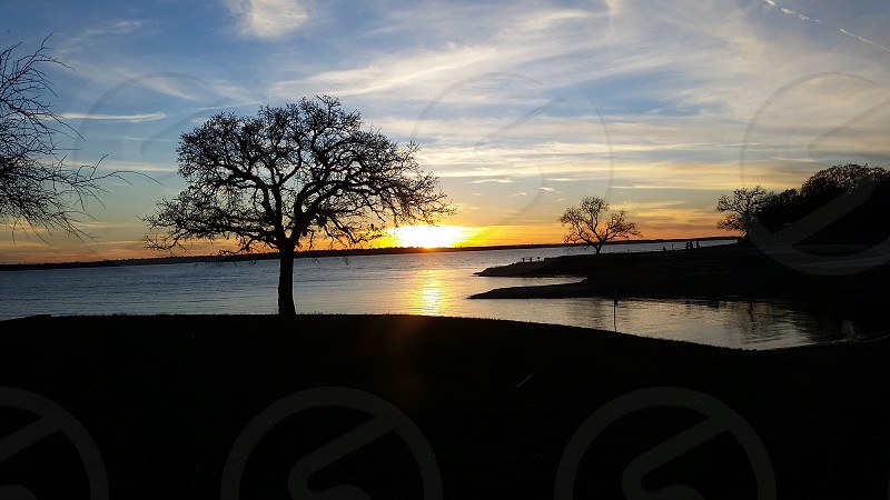 Beautiful sunset view from Grapevine Lake Texas. photo