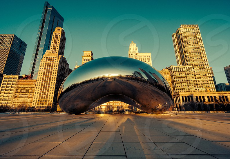 chicago silver bean with buildings in background photo
