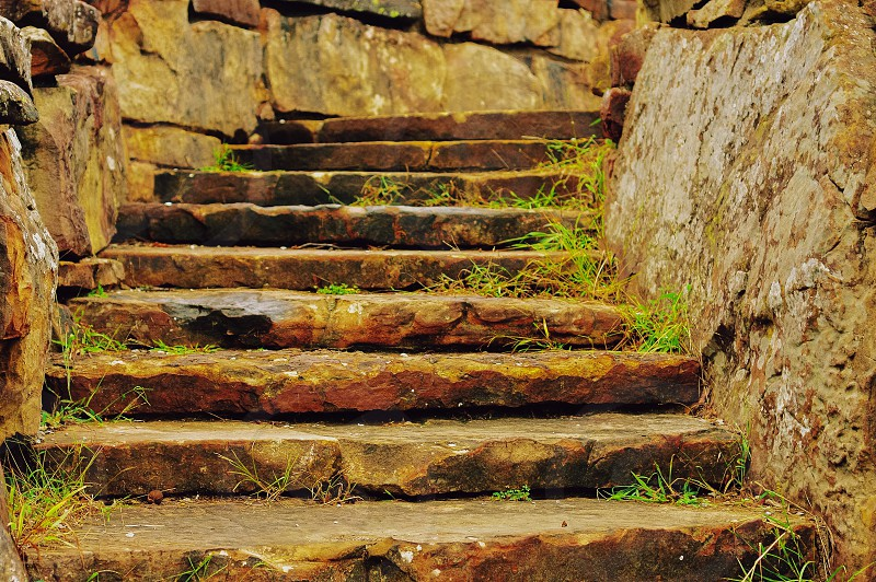 Man made rock stairs at Osage Hills.  photo