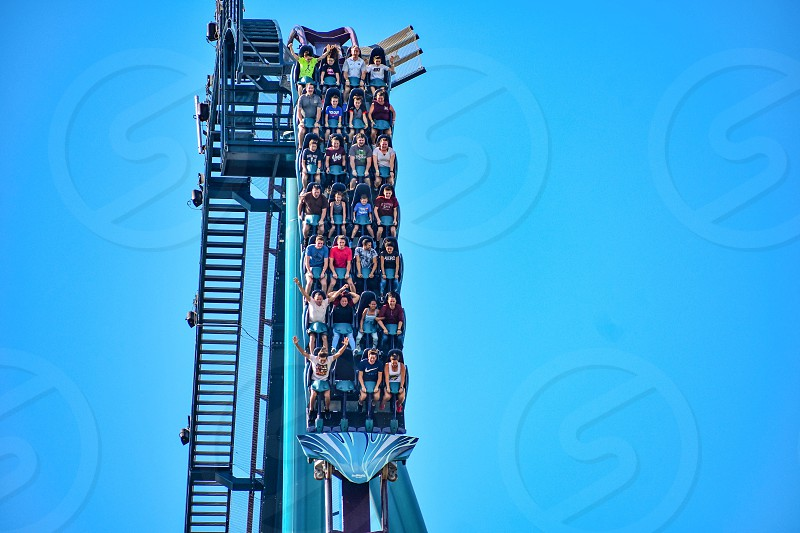 Orlando Florida. December 26 2018. This roller coaster is known for high speeds deep dives and thrills around every turn at Seaworld in International Drive area (9) photo