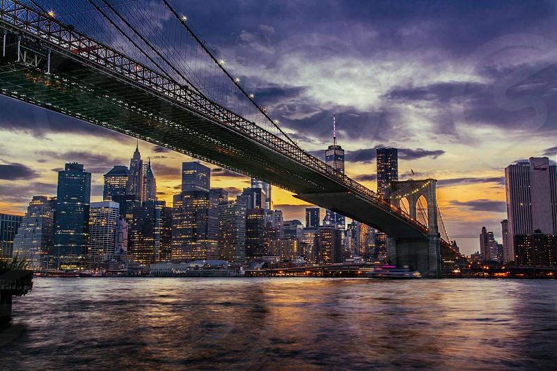 Brooklyn Bridge in the evening.  photo