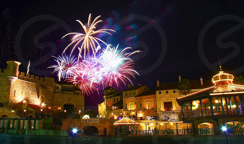 'Fireworks over city' (8)  Fireworks Fireworks over city New Year City European buildings Castle Sparkling Shinning Colorful Night view Horizontally long Laterally long Oblong photo