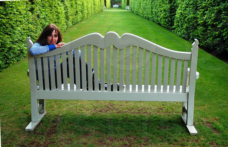 Hardwick Hall gardens bench with girl photo