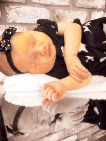 girl's white star printed black dress with bow headband photo