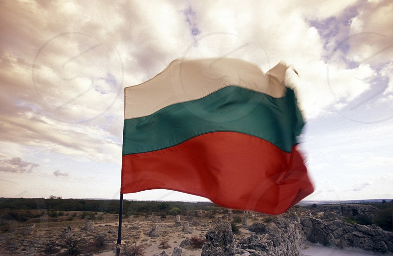 the army of Bulgaria with the Bulgaria Flag at Fort of the city of Veliko Tarnovo in the north of Bulgaria in east Europe. photo