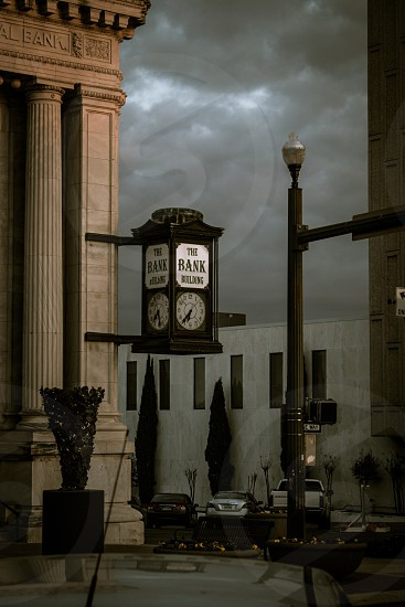 the bask building clock at 6:42 photo