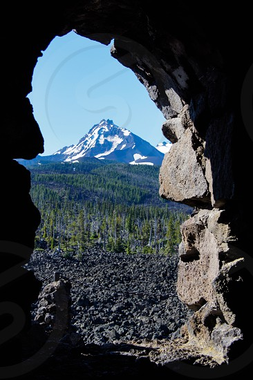 Mountain window lookout stone McKenzie Pass Oregon Central Oregon Dee Wright Obsevatory photo