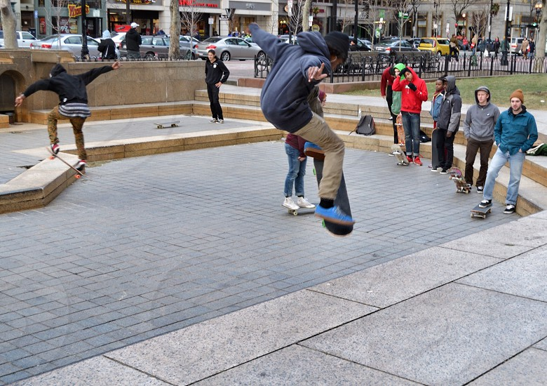man doing skateboard trick photo photo
