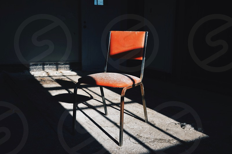 orange and gray steel padded chair photo