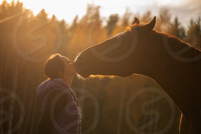 farmer woman hugging  brown horse photo