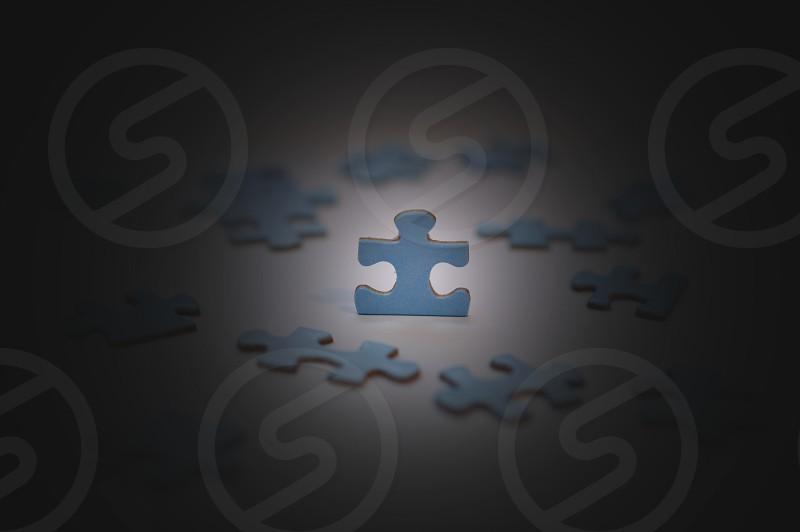 blue puzzle pieces photo