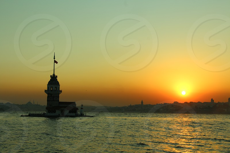 maiden´s tower at sunset usküdar photo