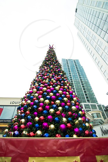 blue yellow red christmas ball decorated christmas tree photo