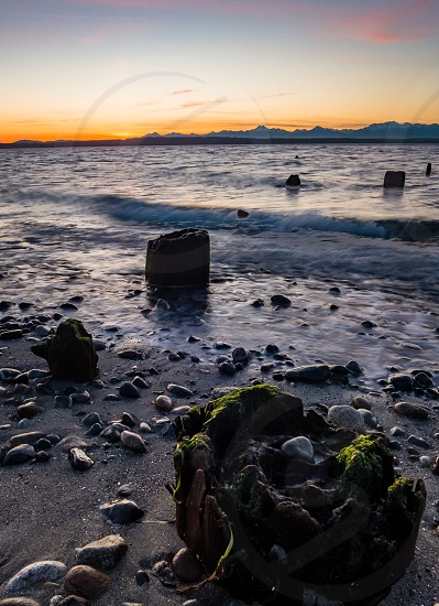 Sunset at Golden Gardens in Seattle WA photo