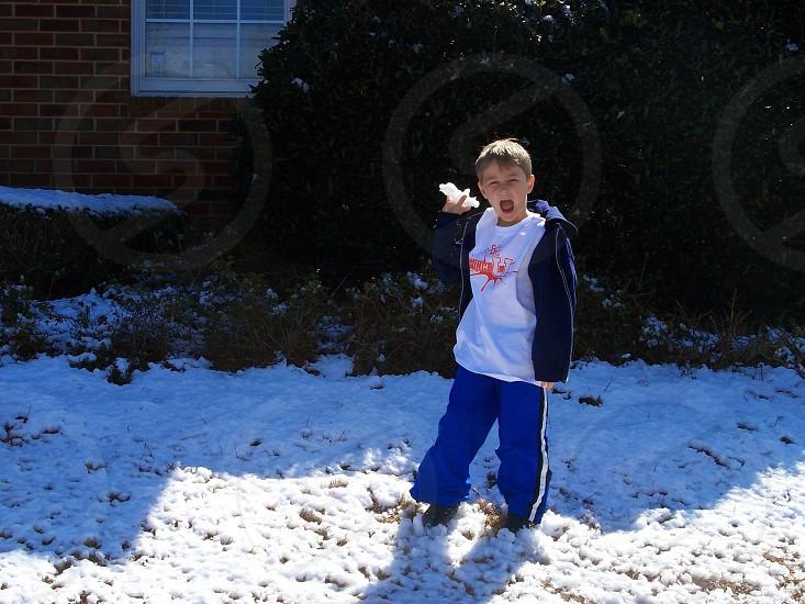 fun  snow play snowball boy photo