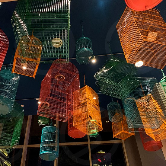 Birdcages lights ceiling abstract geometric colorful photo