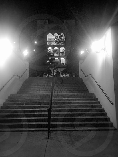 University of San Diego stairs at night. black and white filter abstract man made architecture  photo