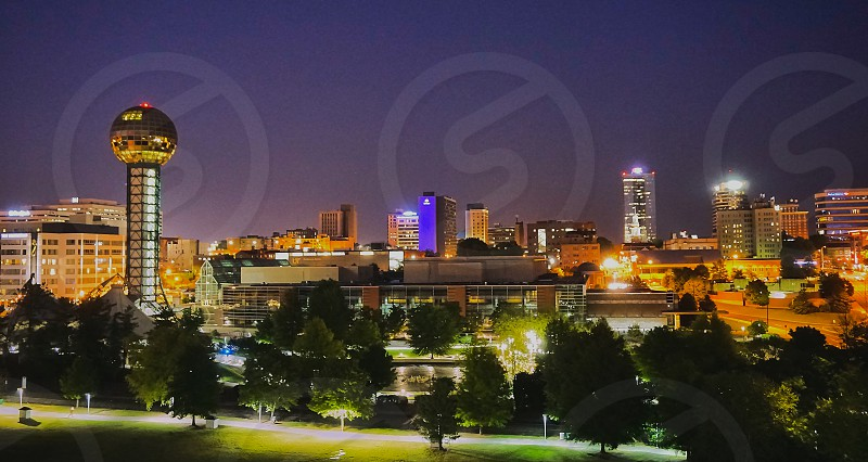World's Fair Park with Sphere and view of Knoxville TN City lights.                              photo