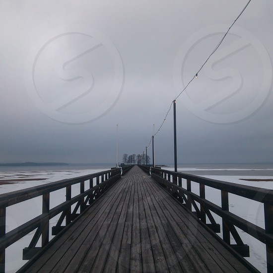 brown wooden beach dock photo