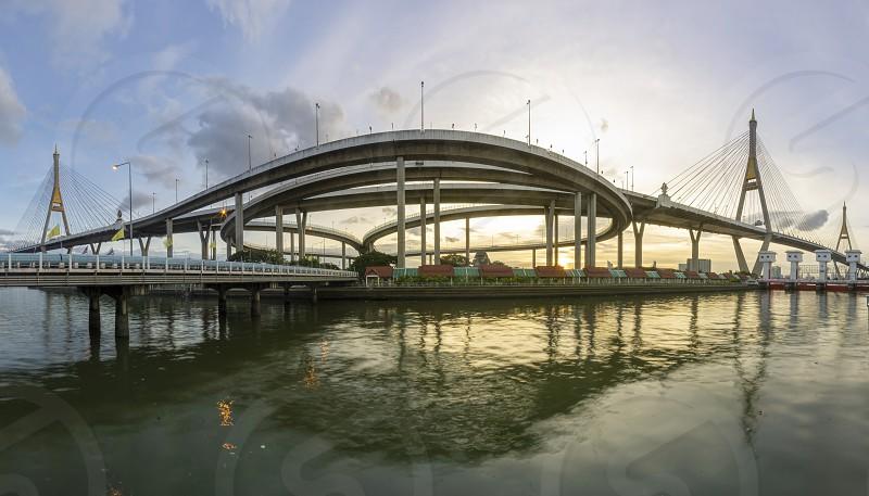 Bhumibol Bridge Chao Phraya River Bridge. photo