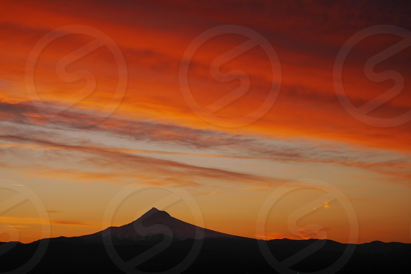 Sunrise; Mt. Hood; Oregon; silhouette;  photo