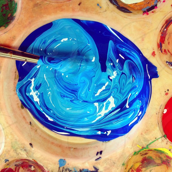 Dark Blue and Light Blue Paint photo