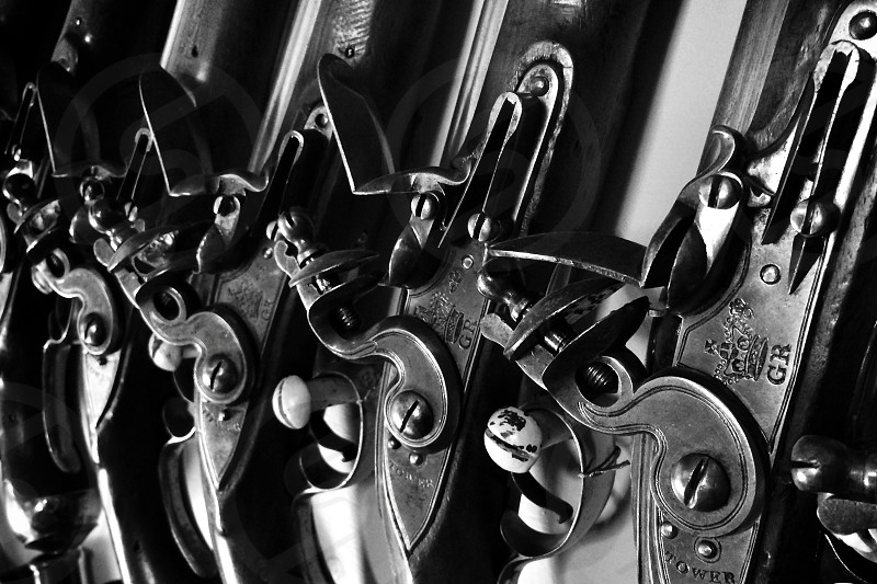 Gun antique repetition display black and white B&W iPhone 5s   photo