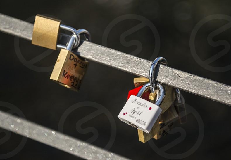 Lovers leave padlocks in Berlin photo
