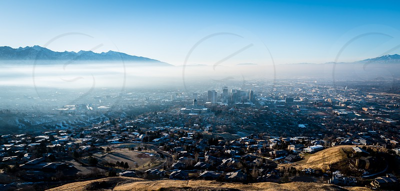Aerial photo of  Salt Lake City downtown in early morning photo