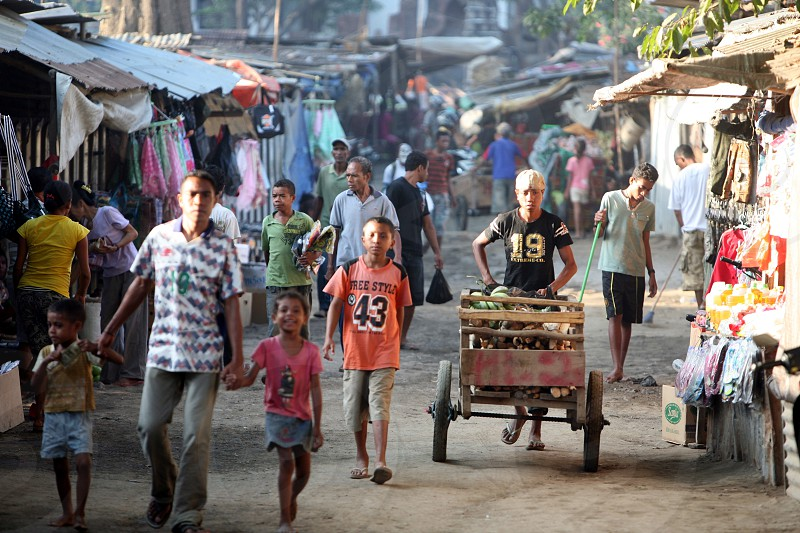 people at the Market in the city of Dili in the east of East Timor in southeastasia. photo