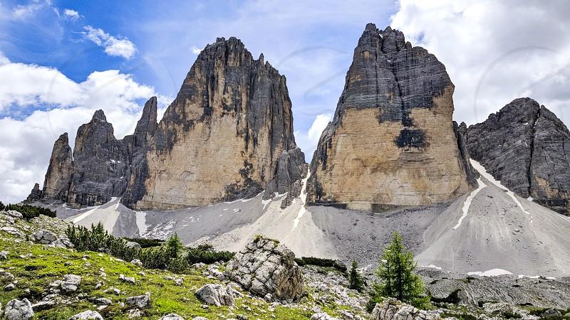 Amazing mountain peaks in the Italian Dolomites. photo