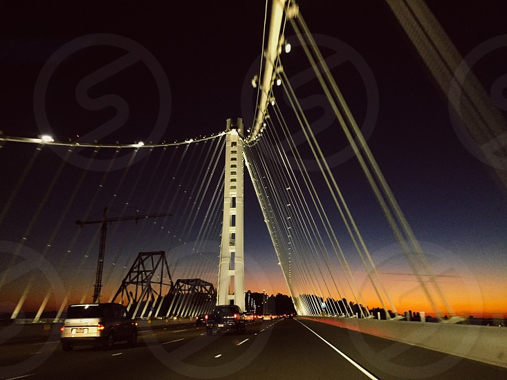 San Francisco Oakland Bay Bridge sunset photo
