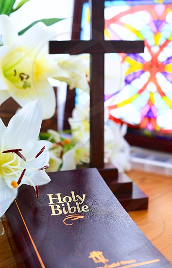 Easter (5): Easter Lilies Holy Bible Cross photo