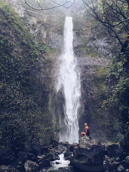 Hawaii vacation kauai waterfall hike stormy explore travel photo