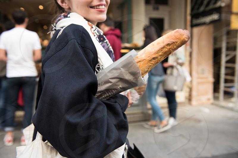 Paris baguette smile smell photo