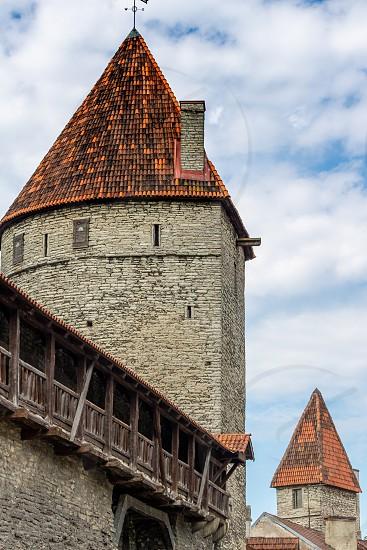 ESTONIA TALLINN - JUNE 26 2015: View of ancient fortress towers photo