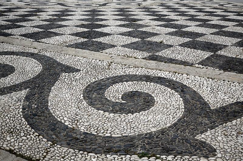 Seville Sevilla Plaza de Espana stone mosaic floor Andalusia Spain square photo