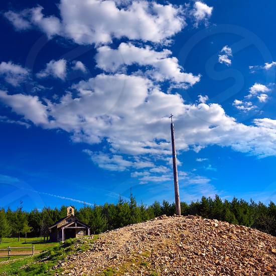 Cruz de Ferro top at Saint James Way Leon Spain photo