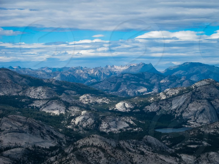 The beautiful sky and valley in Yosemite National Park. photo