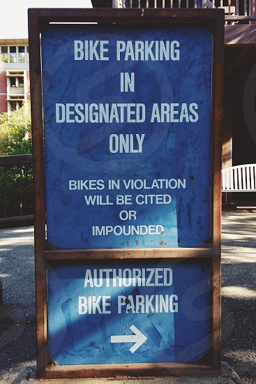 bike parking in designated areas only photo