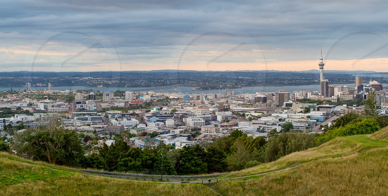 Auckland skyline from the Mount Eden cone. photo