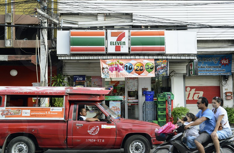 a seven eleven in the city of chiang mai in the north of Thailand in Southeastasia.  photo